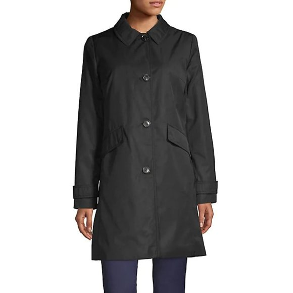 NEW Kate Spade Black Mid-Length Button Up Hooded Trench Coat